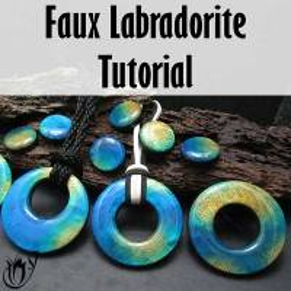 Polymer clay faux labradorite donut pendants