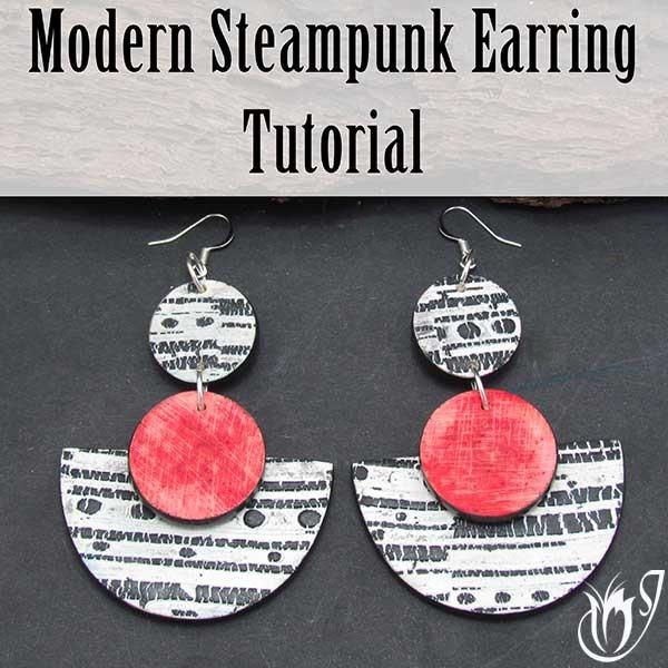 Modern Steampunk Polymer Clay Earrings