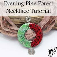 Polymer Clay and Wirework Evening Pine Forest Pendant