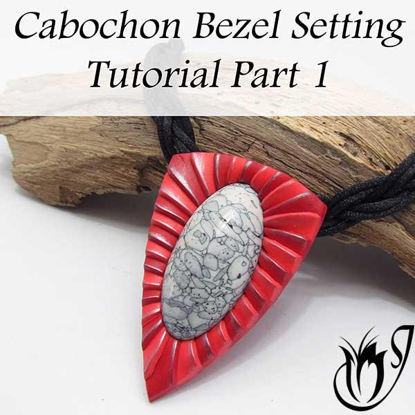 Polymer clay cabochon setting