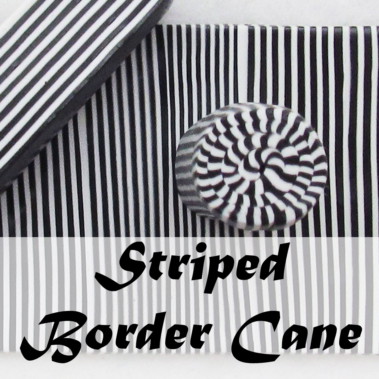 Polymer clay striped checkerboard border cane