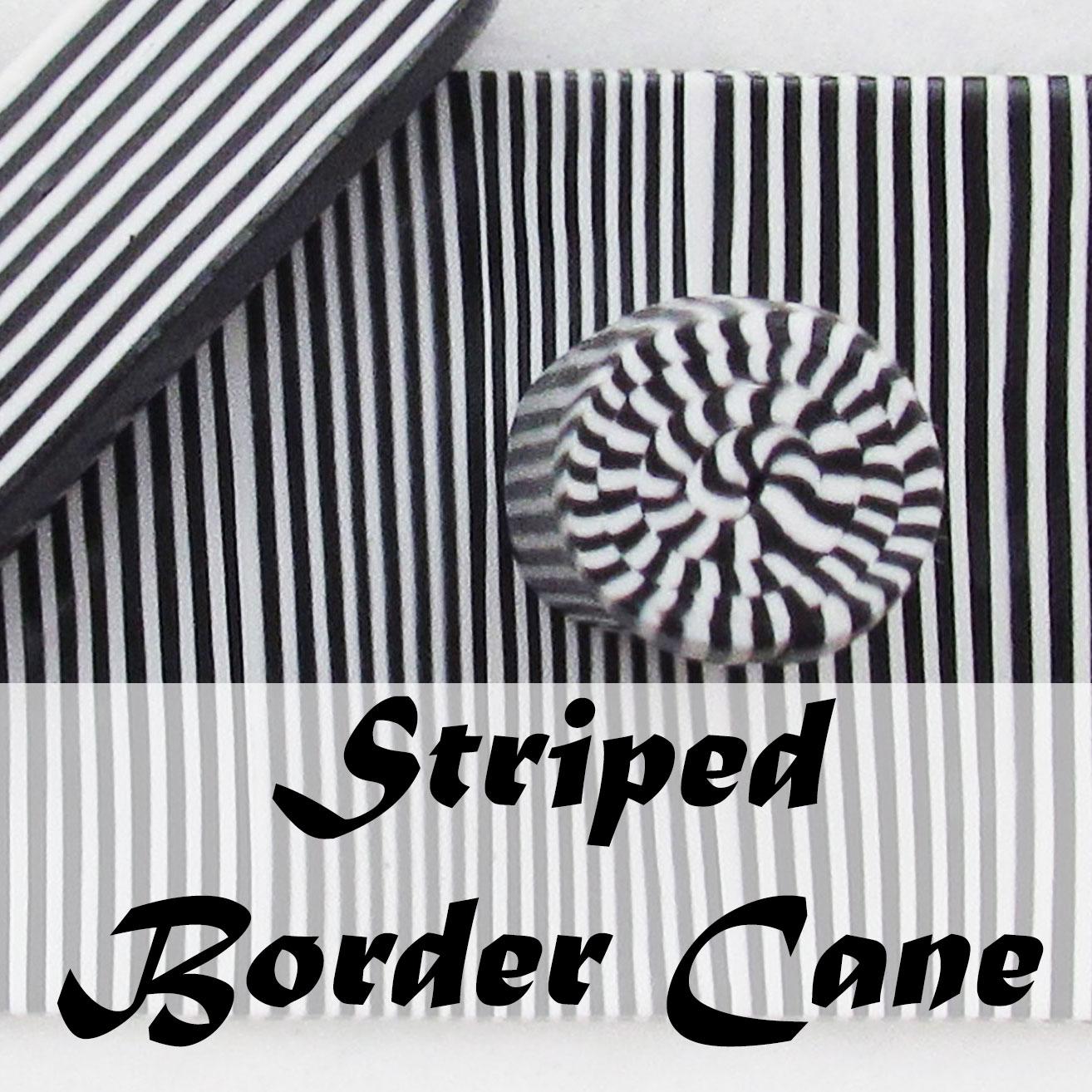 Polymer clay striped checkerboard border cane