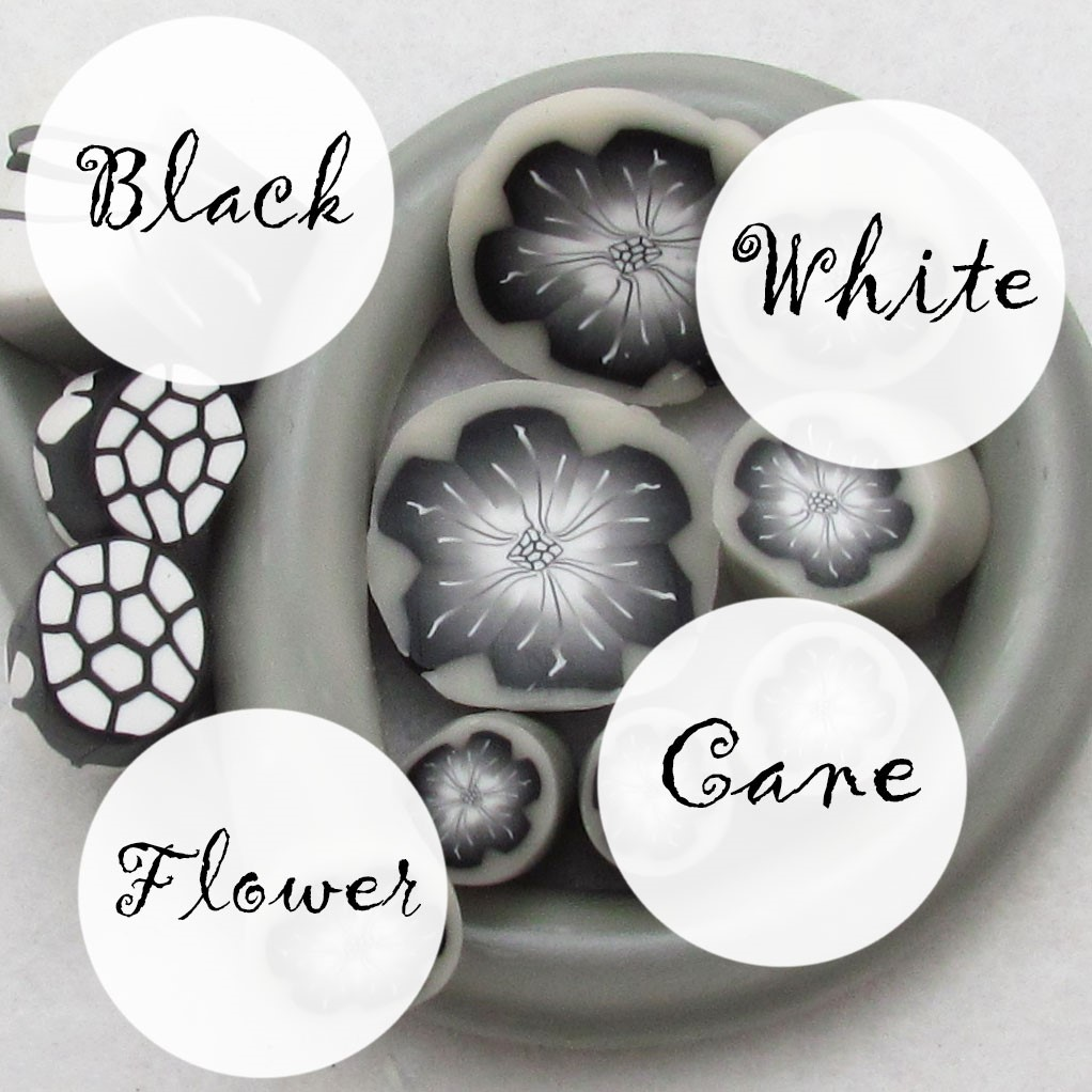 Black and White polymer clay flower cane