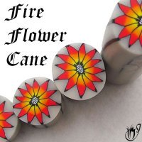 Polymer clay fire flower cane