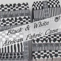 Black and white African fabric geometric cane