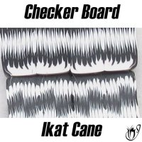 Polymer clay checkerboard Ikat cane
