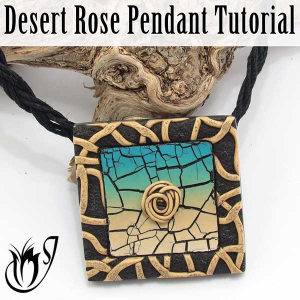 Desert Rose Polymer Clay Crackle Pendant