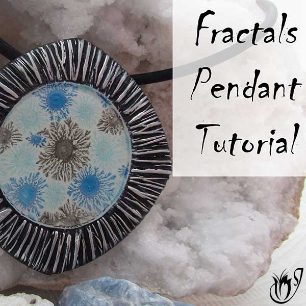 acrylic paint fractals in polymer clay bezel