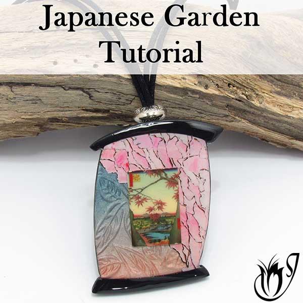 Japanese Garden Polymer Clay Transfer Pendant