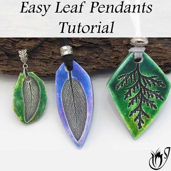 Polymer clay leaf pendants