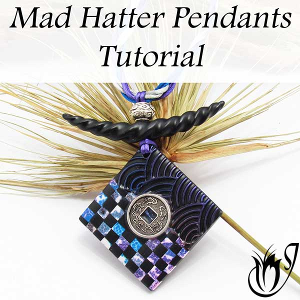 Mad Hatter polymer clay pendant