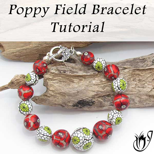 Poppy Field Polymer Clay Bracelet