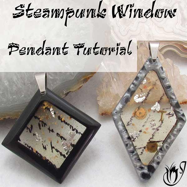 Polymer Clay Steampunk Window Pendants