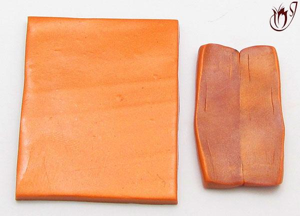 Blocks of gold metallic clay