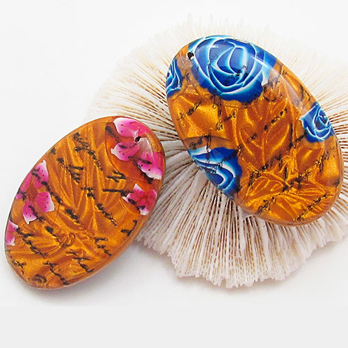 polymer clay mica clay beads with flower cane
