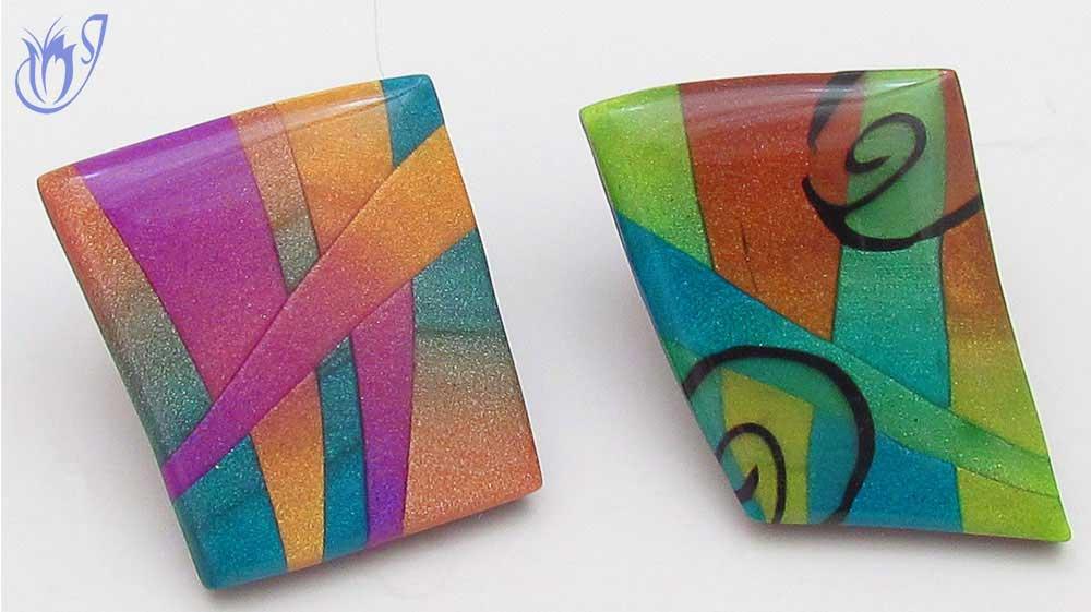 Polymer clay skinner blend mosaic beads