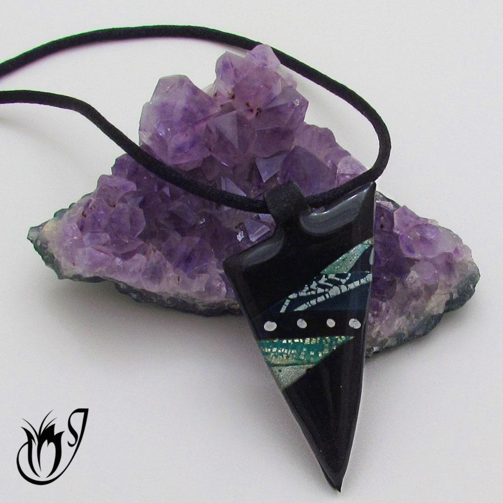 Elegant black polymer clay pendant