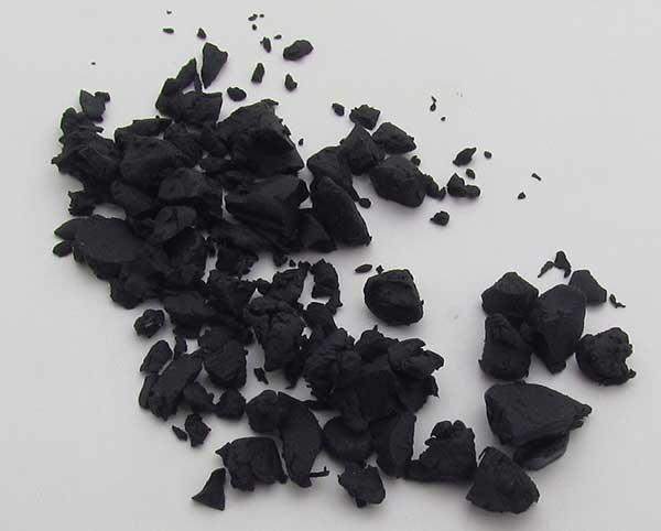crumbled black polymer clay