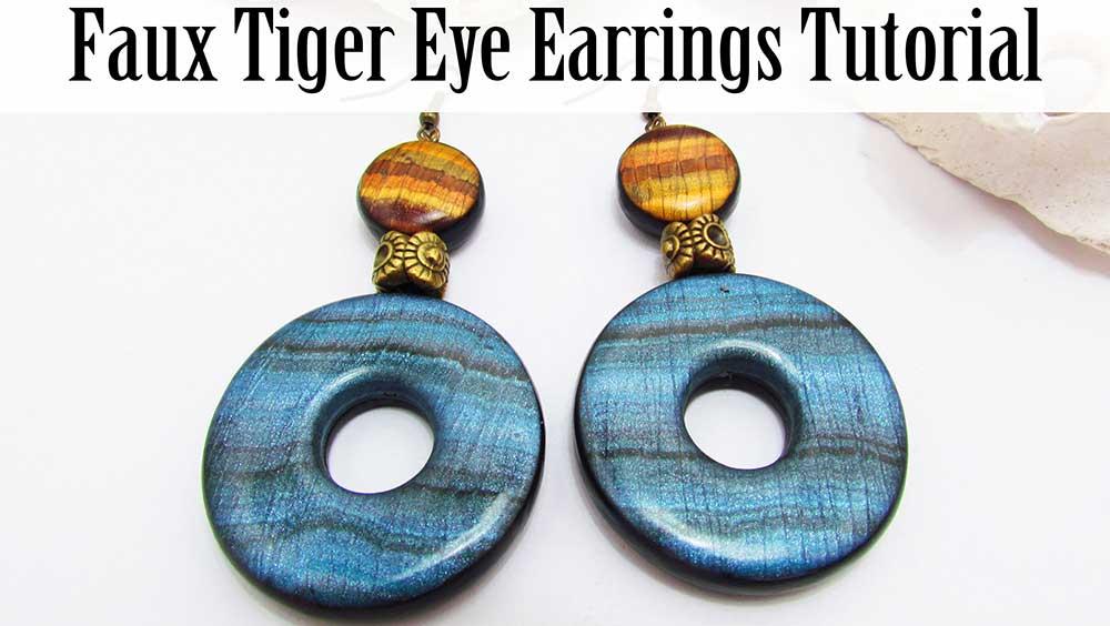 Faux Tiger Eye Polymer Clay Earrings