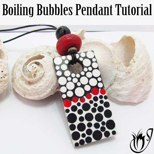 Boiling Bubbles polymer clay pendant