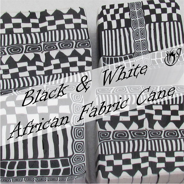 Black and White African Geometric Cane