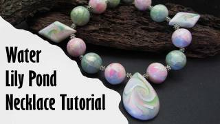 polymer clay water lily pond necklace