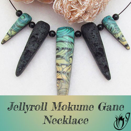 Jellyroll Mokume Gane and Faux Lava Polymer clay necklace