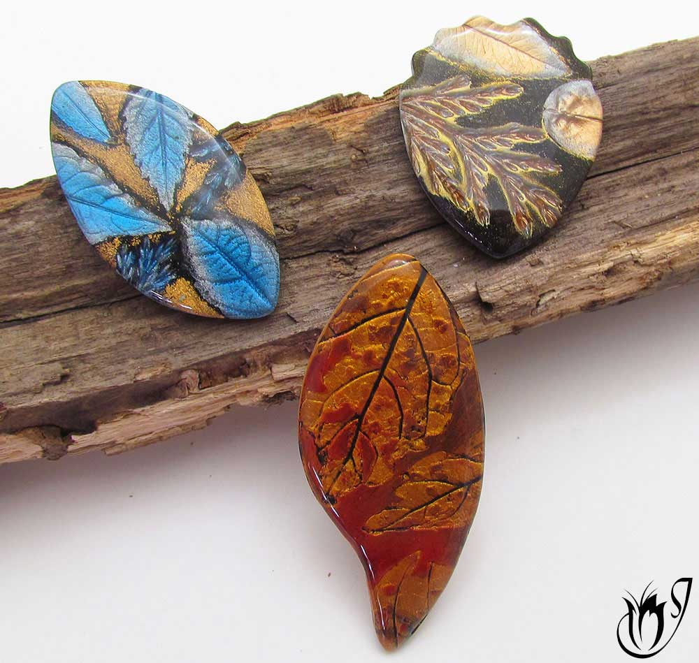 Mica leaf polymer clay beads