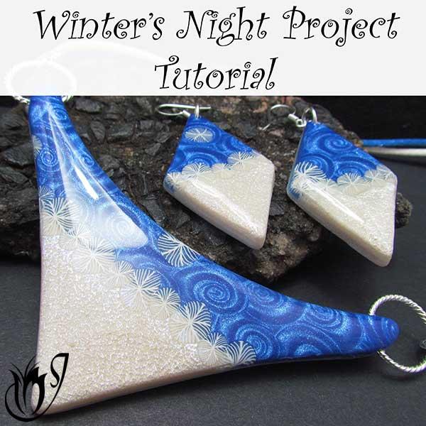 Winters Night polymer clay bib