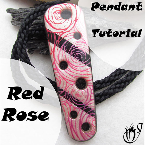 Red Rose Polymer Clay Pendant