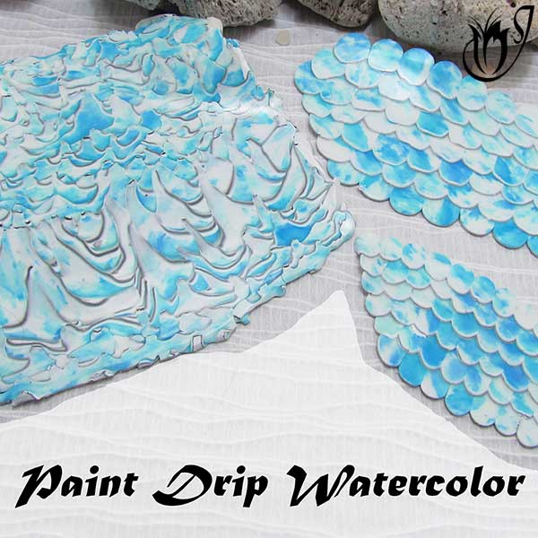 Polymer clay Paintdrip Watercolor Technique