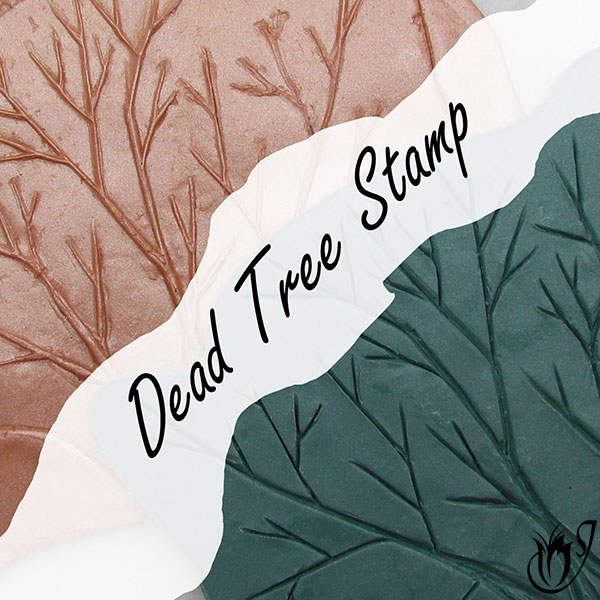 Dead tree hand carved polymer clay texture stamp
