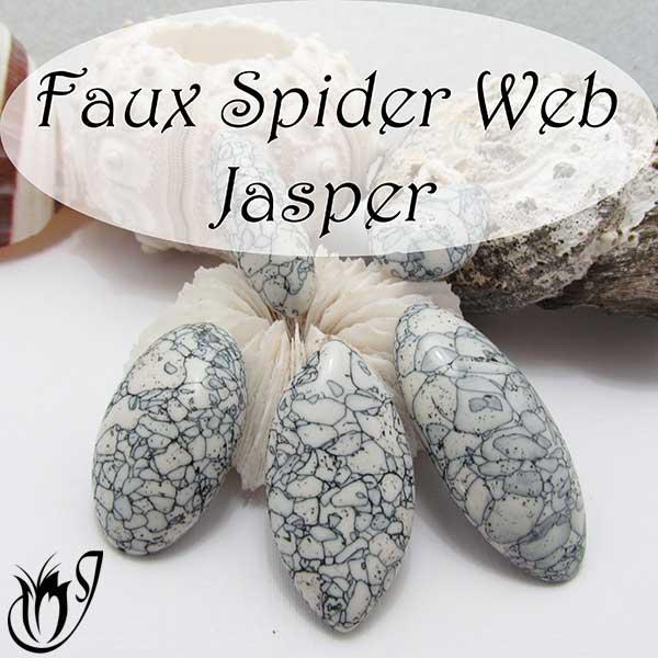Polymer clay faux spiderweb jasper cabochon