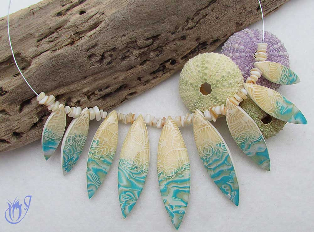 By the beach polymer clay necklace