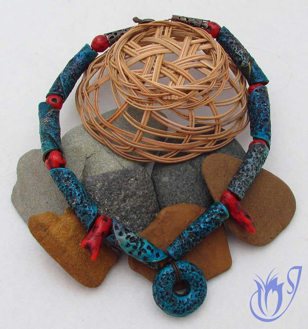 Faux coral and pitted turquoise polymer clay necklace