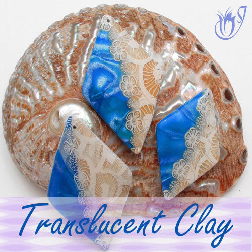 Translucent cane and blue Mokume Gane polymer clay beads