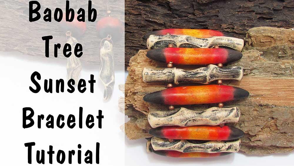Baobab Tree Sunset Polymer Clay Bracelet