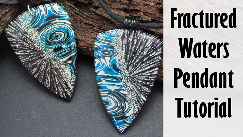 Fractured Waters Polymer clay pendant