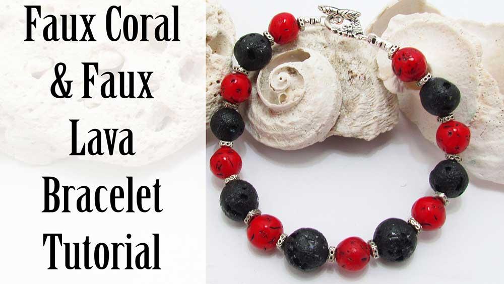 Faux Coral and Faux Lava Bead Bracelet