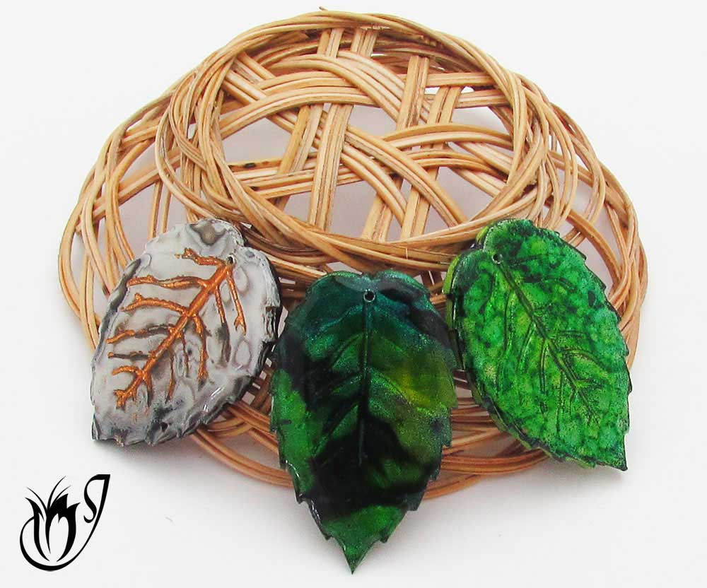 Polymer clay leaf beads made using foils and alcohol inks