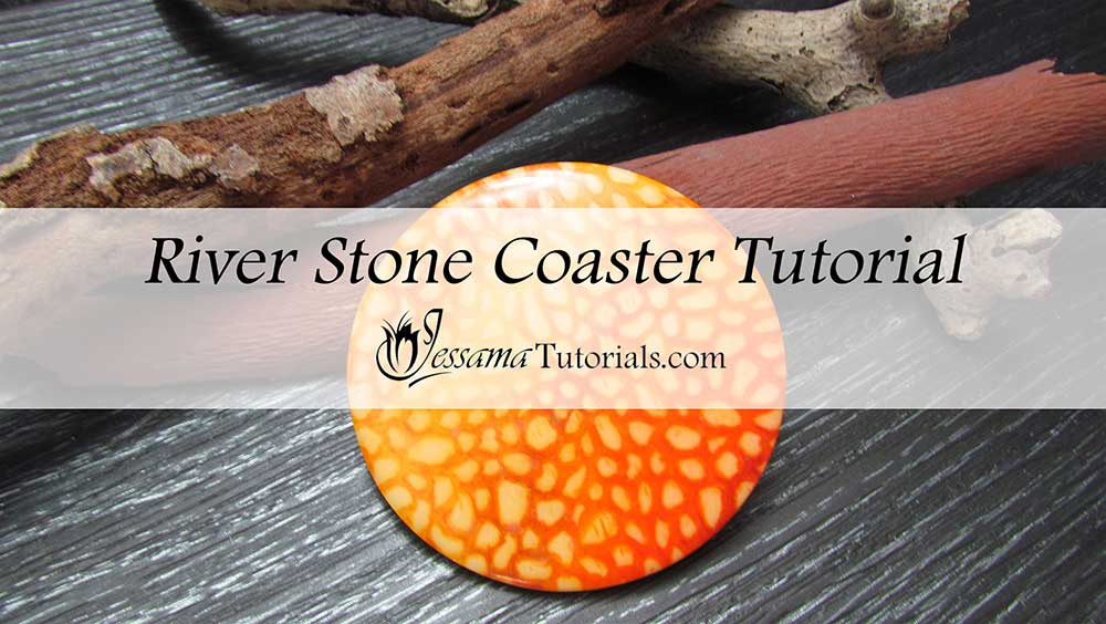 Riverstone polymer clay coaster