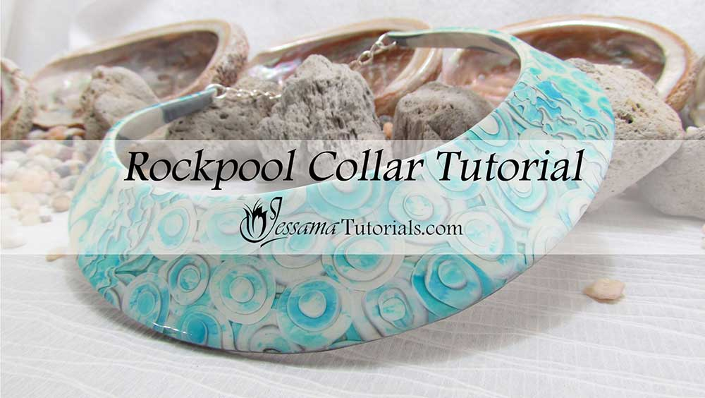 Rockpool polymer clay collar necklace