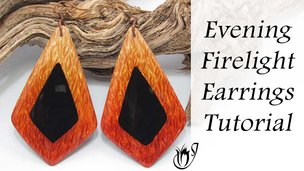 Evening Firelight polymer clay pendants