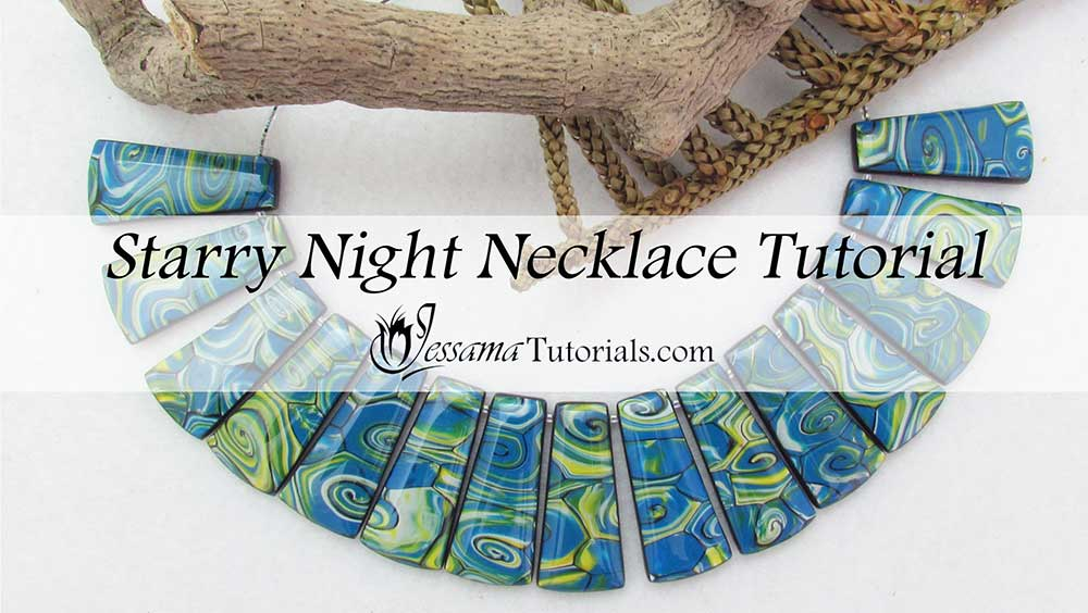 Polymer clay starry night necklace