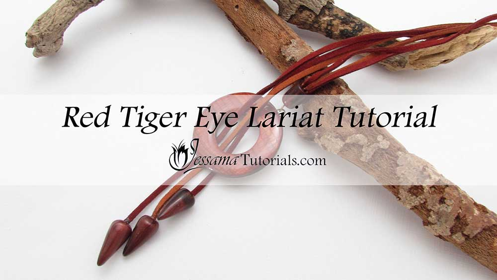 Faux Red Tiger Eye Polymer Clay Lariat