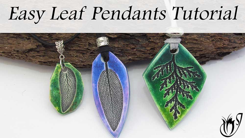 Easy polymer clay leaf pendants