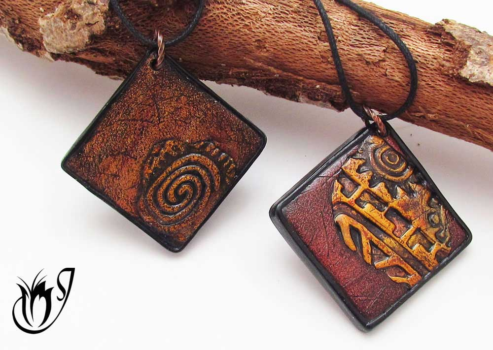 Polymer clay pottery pendants