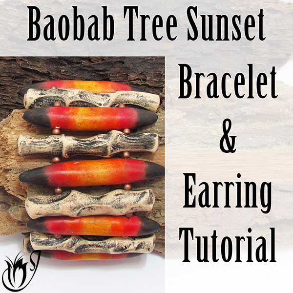 Baobab Sunset Polymer Clay Bracelet