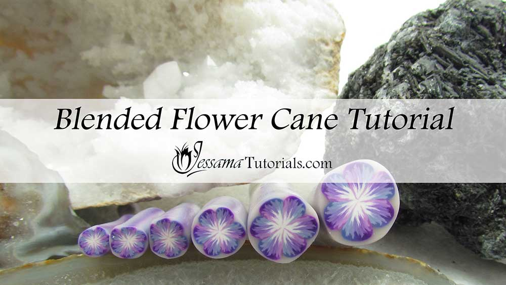 Blended flower polymer clay cane