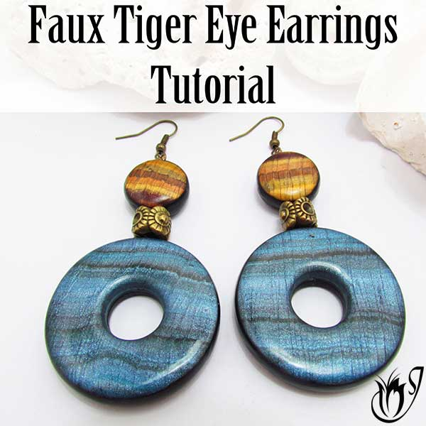 Faux Tiger Eye Polymer Clay Earrings